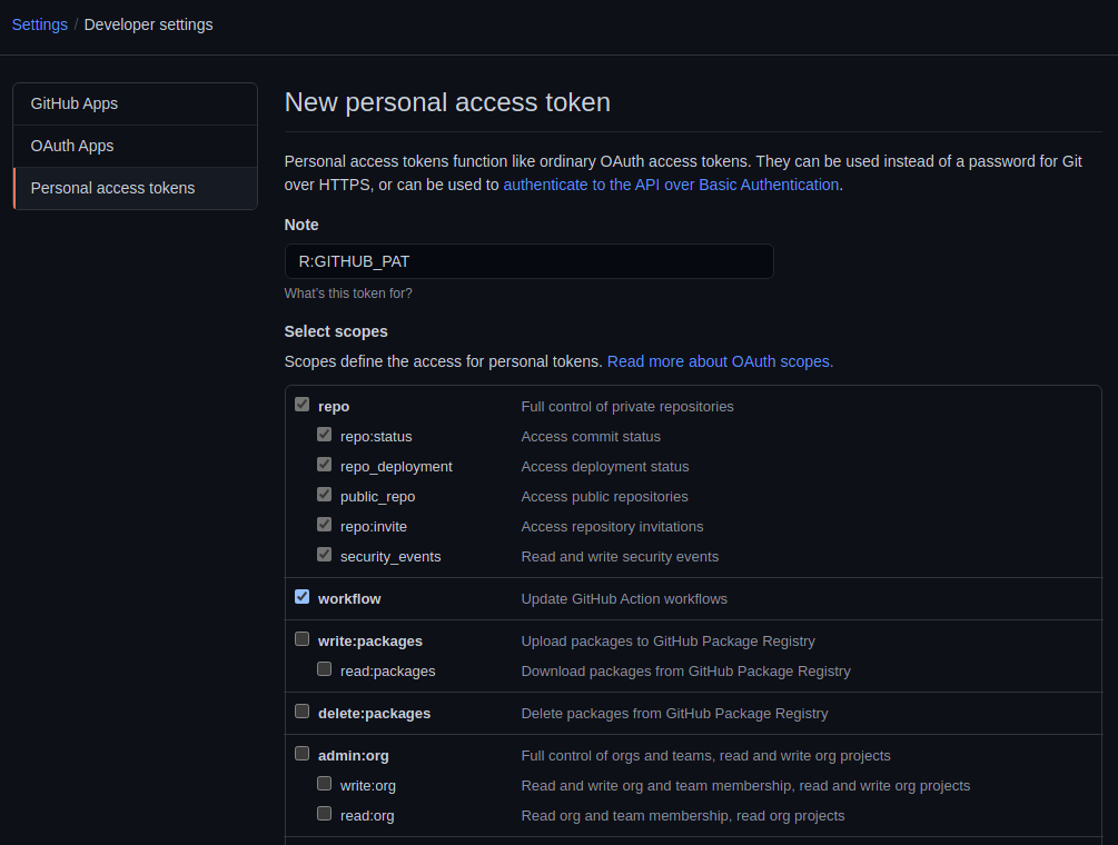Adding a new Personal access token.