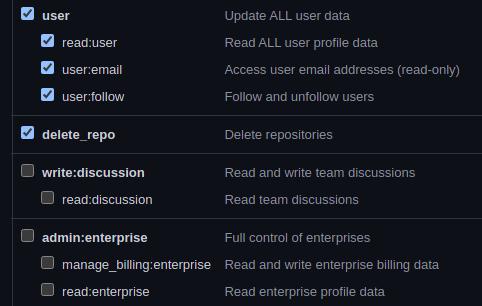 Setting the delete_repo scope for your token.