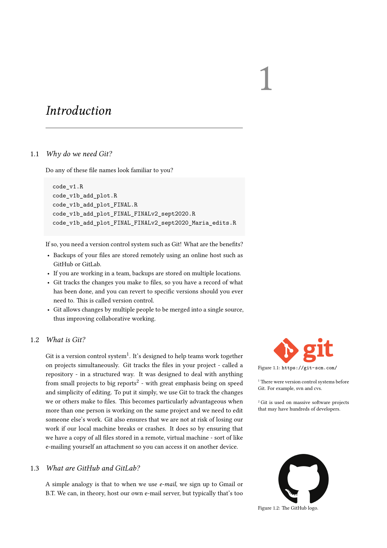 Example course material for 'Git for Me