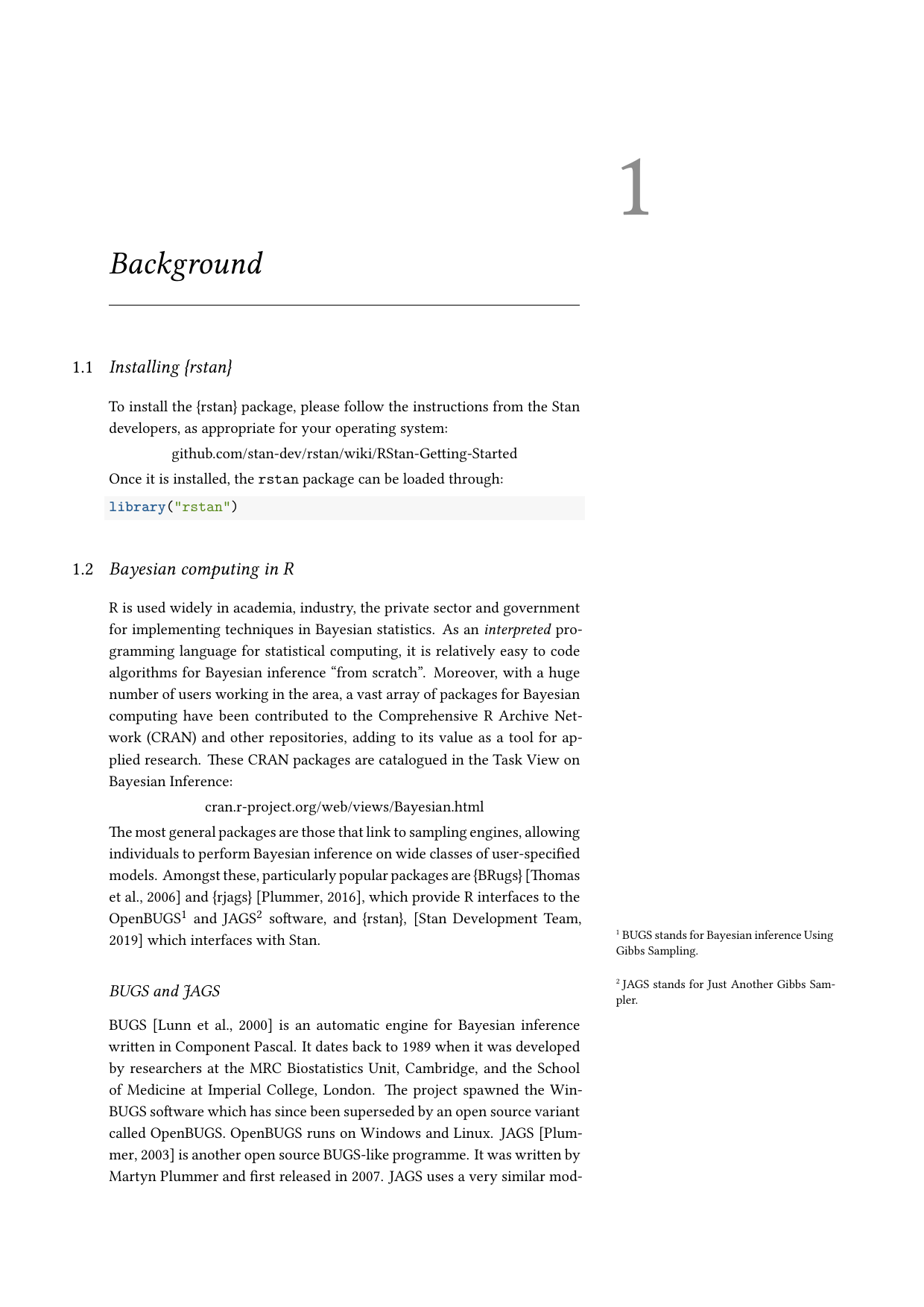 Example course material for 'Introduction to Bayesian Inference using RStan