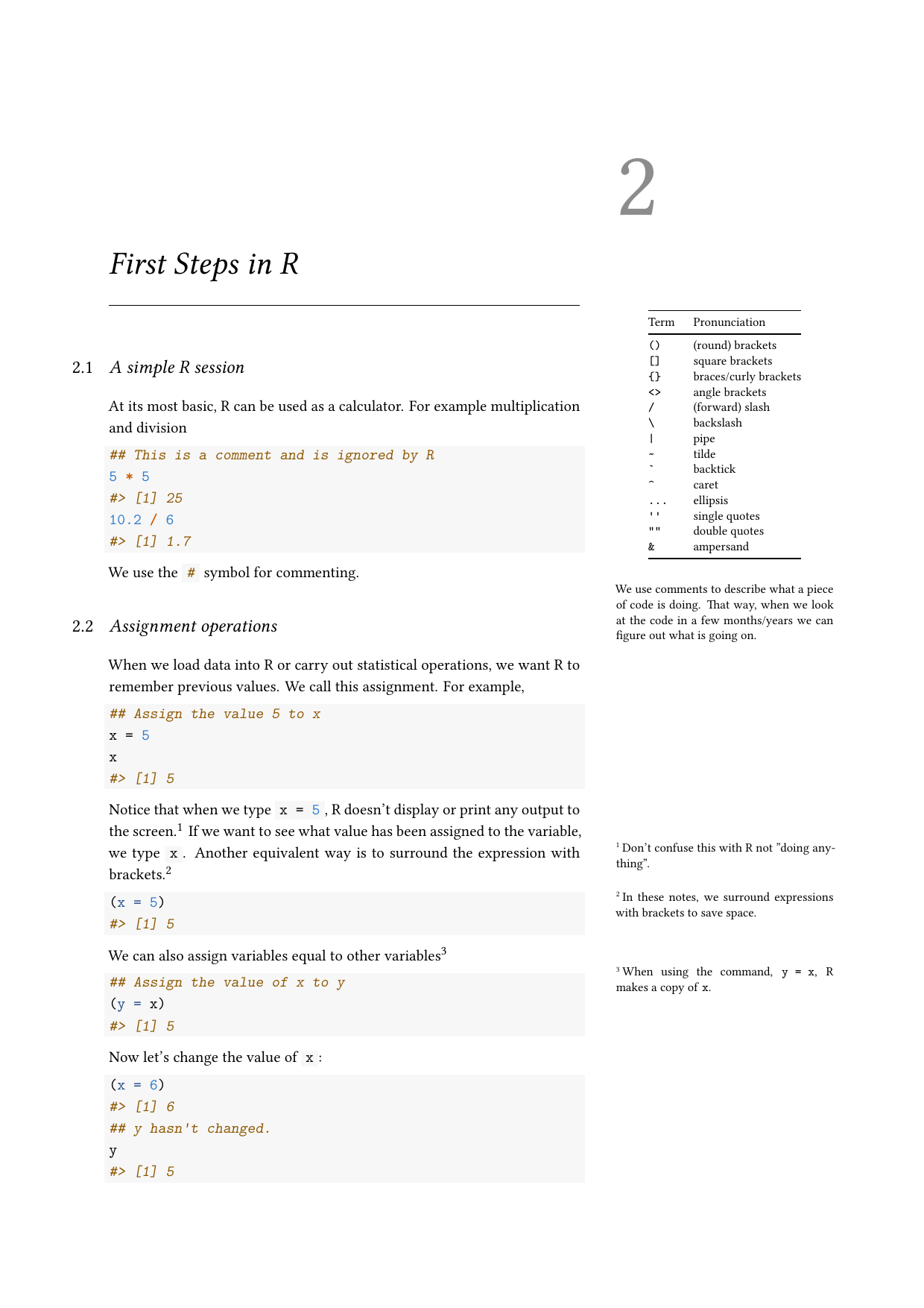Example course material for 'Introduction to R