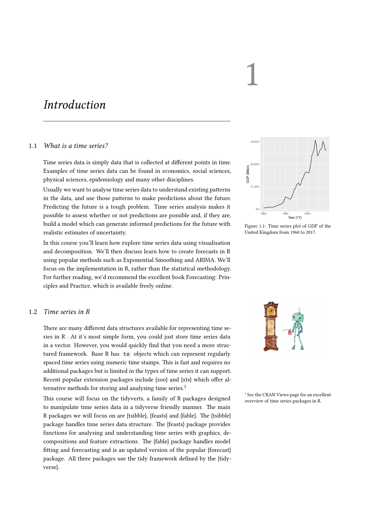 Example course material for 'Time Series Analysis with R